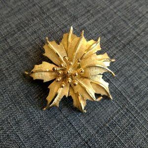 BSK Vintage Pearl Leaf Brooch
